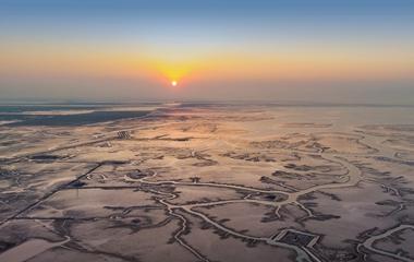 飞吧山东|航拍黄河三角洲湿地 河流似大地经脉蔚为壮观