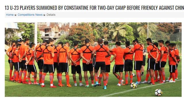 迎战国足,印度公布大名单:13名U23球员