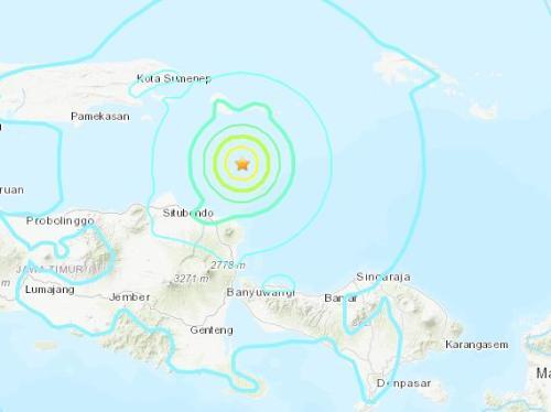 印尼爪哇岛附近海域发生6级地震 造成3人死亡