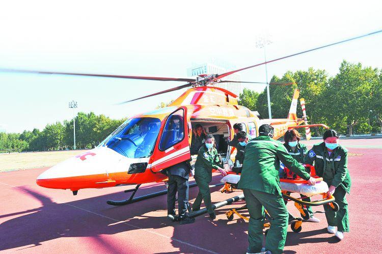 淄博市医疗机构举行地空救援演练