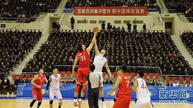 中朝男篮混编友谊赛比分打平 双方握手言和
