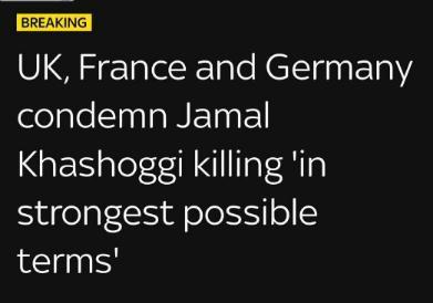 英法德联合声明:强烈谴责哈苏吉死亡一事 呼吁立即解释