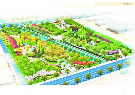 淄博高新区滨河公园景观工程开建
