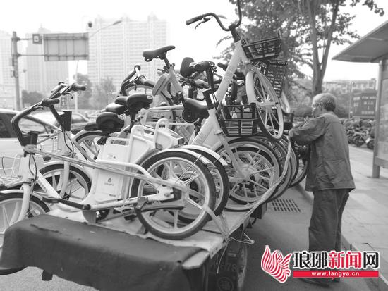 """共享单车随意停放""""添堵""""临沂城管呼吁规范停车"""