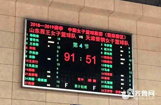 陕西外援空砍33分 山东西王女篮主场90-73获胜
