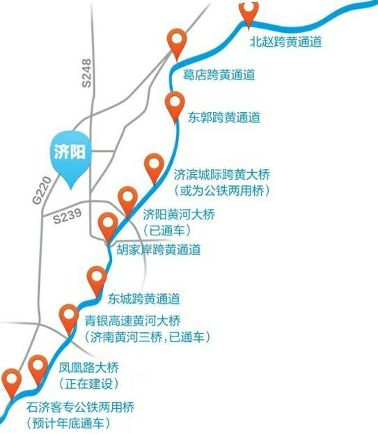 济南北跨需通道,未来黄河南岸有望10桥隧直通济阳