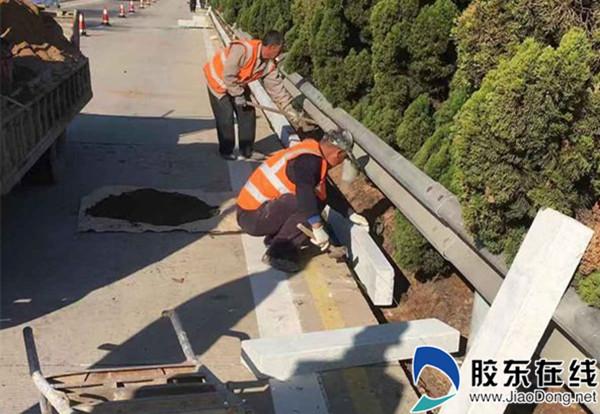 烟威管理处实施高速中央分隔带路缘石增设工程