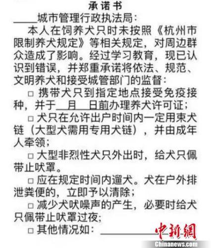 杭州严处违规养犬:起罚400元 不栓狗绳或将没收犬只