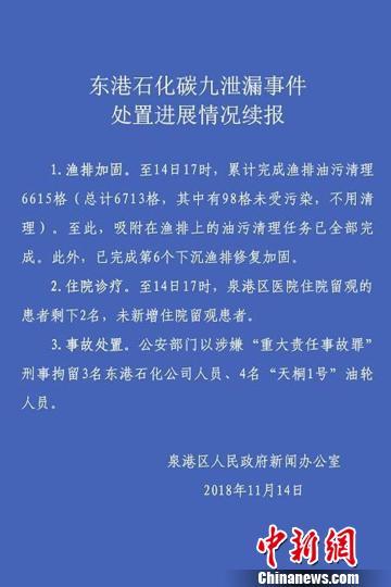 """泉州碳九泄漏事故7人涉嫌""""重大责任事故罪""""被刑拘"""