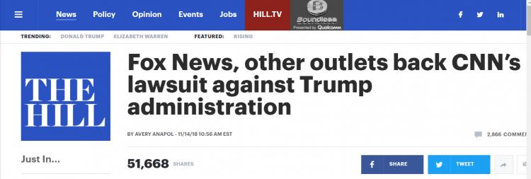 """来自""""好朋友""""的背叛?福克斯新闻网公开支持CNN起诉特朗普"""