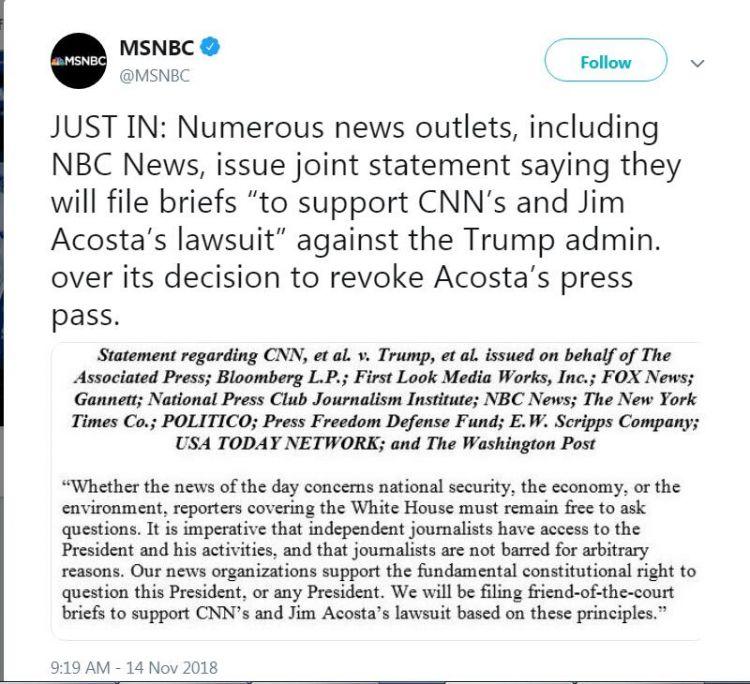 美国主流媒体发表联合声明:支持CNN起诉特朗普