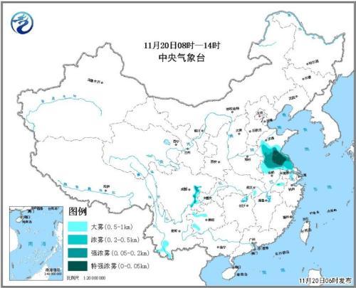 黄淮江淮有大雾能见度低 南方地区仍有阴雨天气
