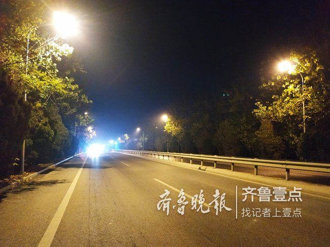 济南南部这段主干道200盏路灯竟有170多盏不亮