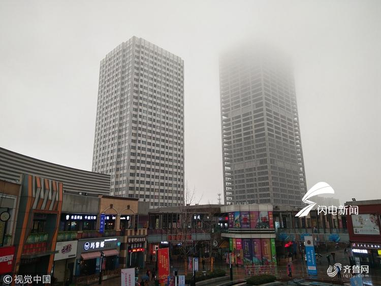 山东泰安:雨雾连天 冬意渐浓