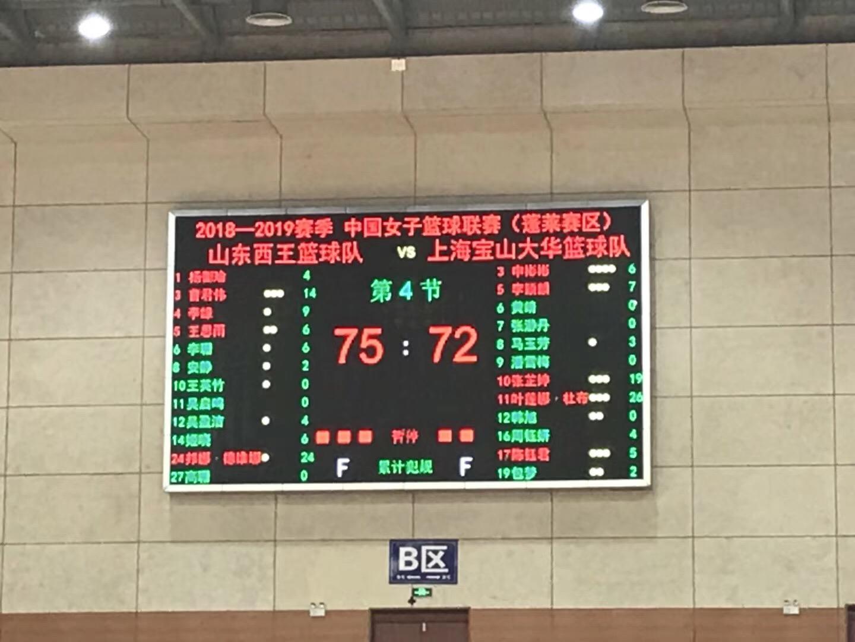 曹君伟14分 山东西王女篮主场75-72险胜上海