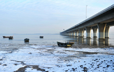 青岛胶州湾现大范围海冰