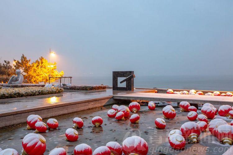 高清:青岛新闻网带你全城追雪 第一站我们去雕塑园