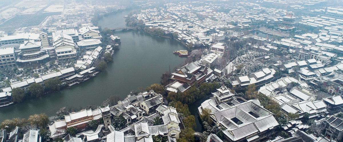 今天最美的雪景在这!瞰雪后的台儿庄古城美景如画