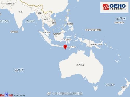 印尼松巴岛地区附近发生6.1级左右地震