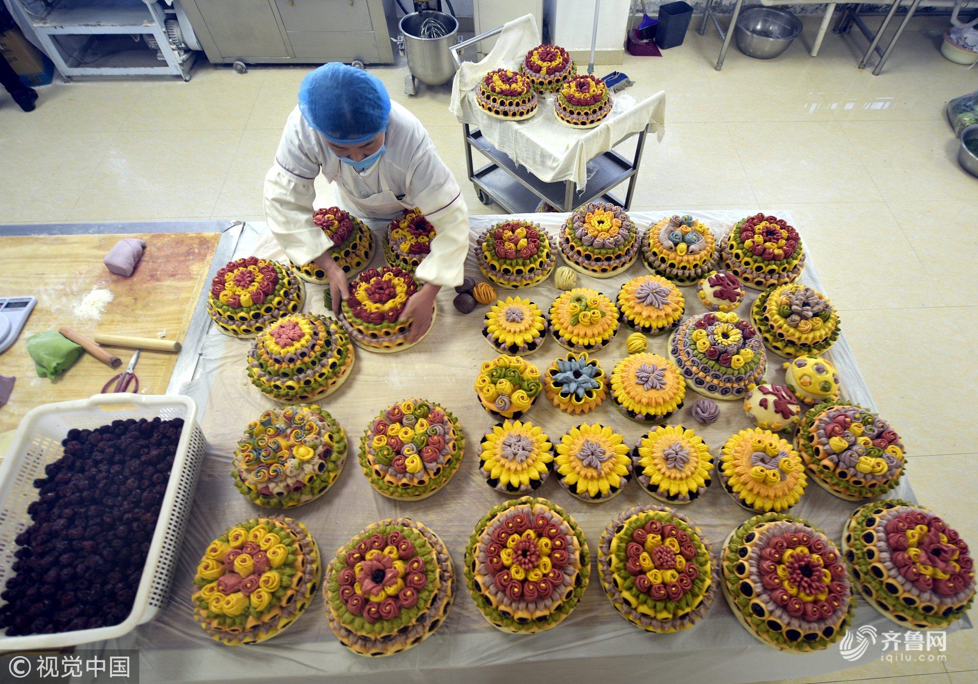 造型生动色彩鲜艳 聊城多彩花糕尝一下