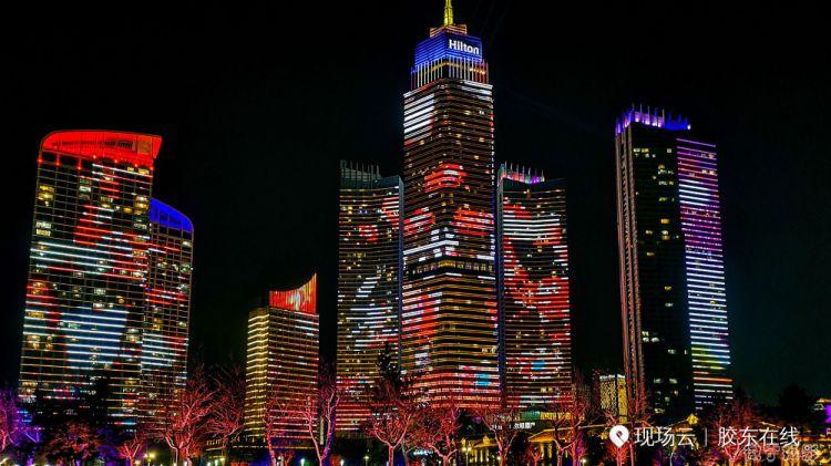 组图:烟台市区上演灯光大秀 市民记者团队全程记录