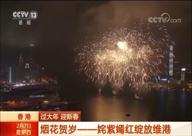 香港:烟花贺岁 姹紫嫣红绽放维港