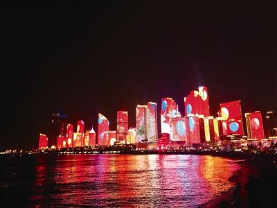 浮山湾夜景灯光秀扮靓岛城新春 央视进行了直播