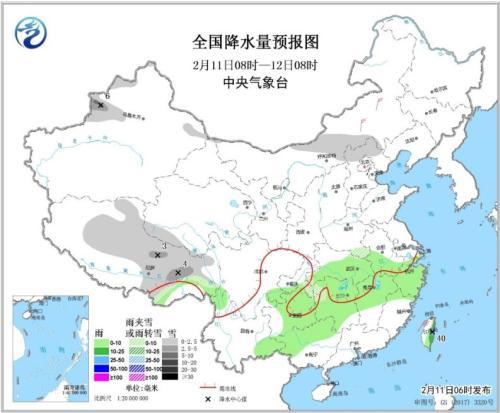 未来三天西北华北有降雪 南方多阴雨天气