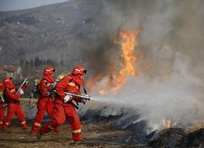 山东森林火灾空地一体化实战演练在徂徕山开练