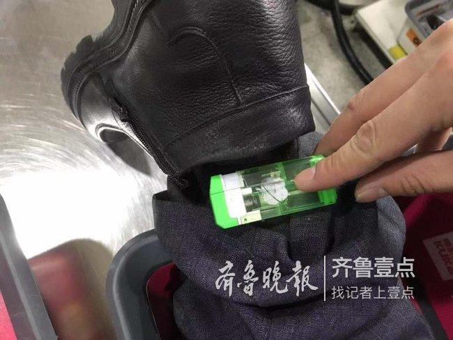 假肢藏火機襠部藏刀具,青島機場安檢又查出新花樣
