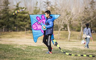 滨州时值周末 市民放飞风筝感受春意