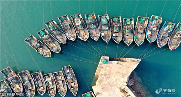 山东青岛:航拍春日渔港 渔船飘摇美如风物画