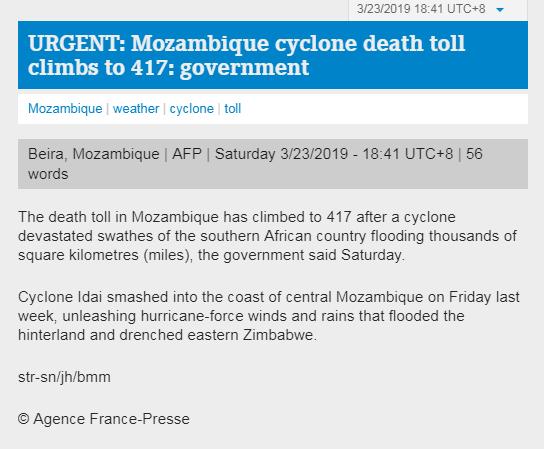 快讯!莫桑比克飓风已致417人死亡