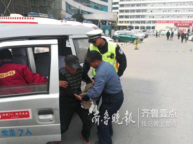 泰安:男子受伤求助交警 警车开道争分夺秒送医