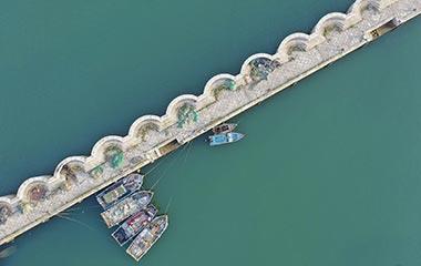 航拍青岛唐岛湾码头:船只静泊海滨清新如画