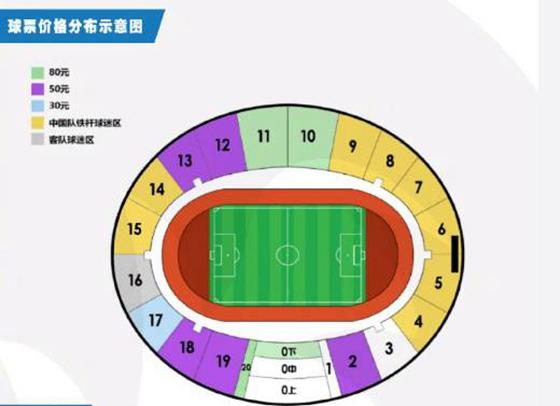 国足热身赛票价公布:最低30最高80,还送助威T恤