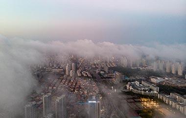 山东青岛现平流雾奇观 云海笼罩远处群山