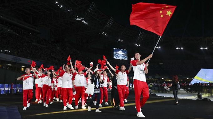 帅气登场!中国代表团亮相第30届大运会开幕式