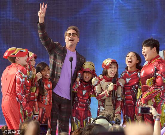 小罗伯特·唐尼以《复仇者联盟4》夺下'青少年票选奖'动作电影最佳男主角。(图/CFP)