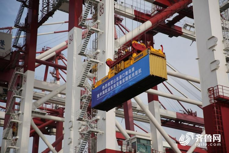 10月26日,山东省港口集团•地中海航运公司青岛港东南亚集装箱航线正式首航。(张进刚  摄2)电话 13854260100.jpg