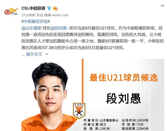 中超公布9月最佳奖项 鲁能小将当选最佳U21球员