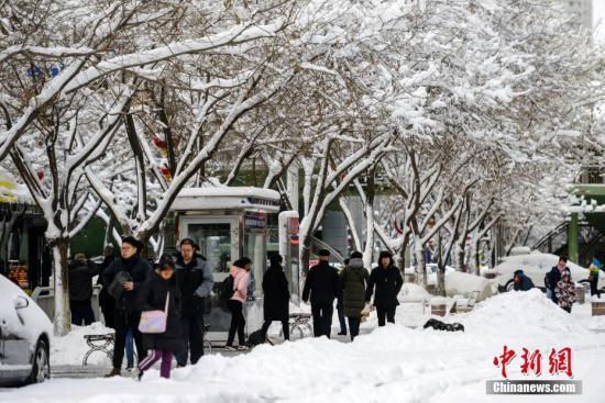 资料图:受冷空气影响,乌鲁木齐15至16日迎来降雪天气。<a target='_blank' href='http://www.chinanews.com/'>中新社</a>记者 刘新 摄
