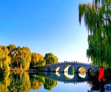 初冬济南大明湖:曙光耀明湖 两岸尽朝晖