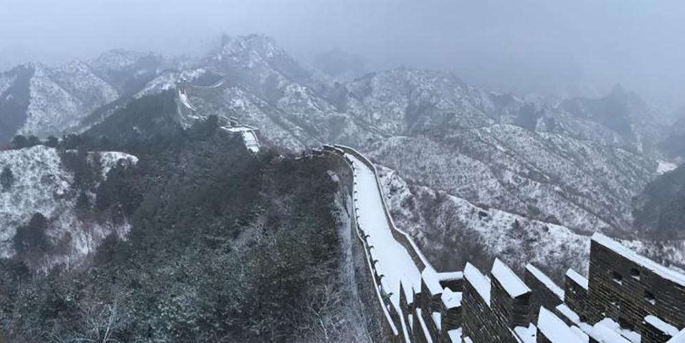 金山岭长城频迎降雪 雪墨丹青分外妖娆