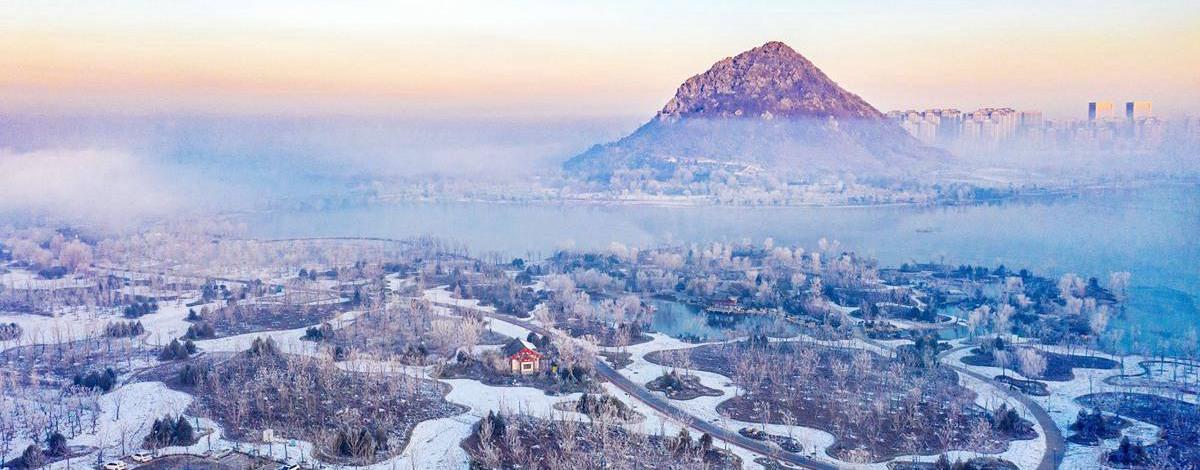 飞吧山东|瑞雪过后 济南华山湖山表霁色云雾飘渺