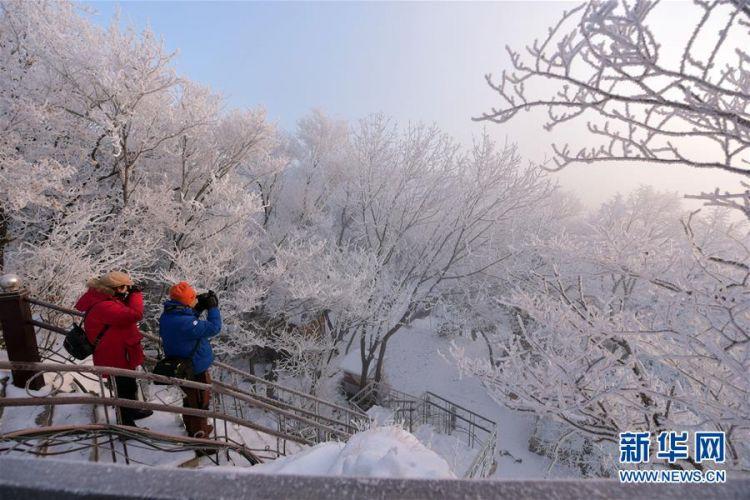#(新华视界)(5)黑龙江牡丹江:镜泊湖现雾凇景观