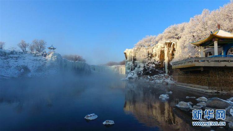 #(新华视界)(3)黑龙江牡丹江:镜泊湖现雾凇景观
