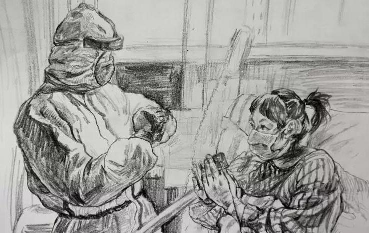 山东女教师用画笔致敬奋战在抗疫一线最可爱的人