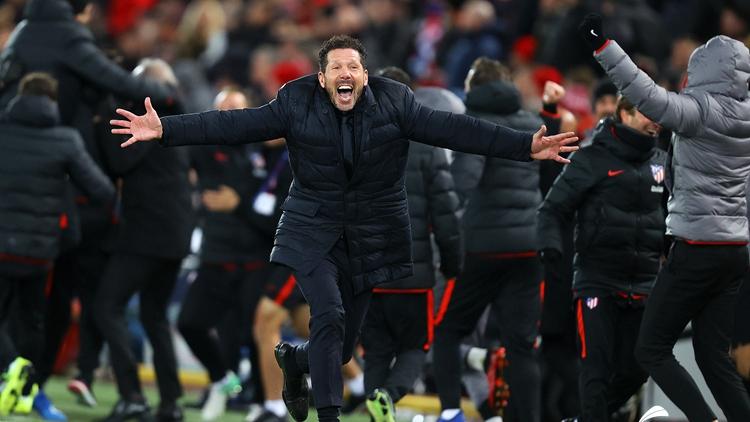 马竞淘汰利物浦,西蒙尼狂奔庆祝