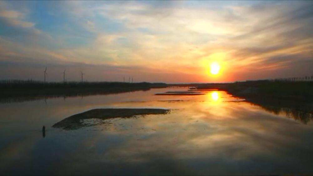 22秒|长河落日、晚霞缤纷 延迟摄影看聊城阳谷金堤河的奇妙景致